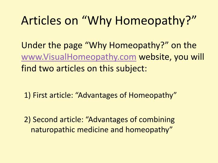 "Articles on ""Why Homeopathy?"""