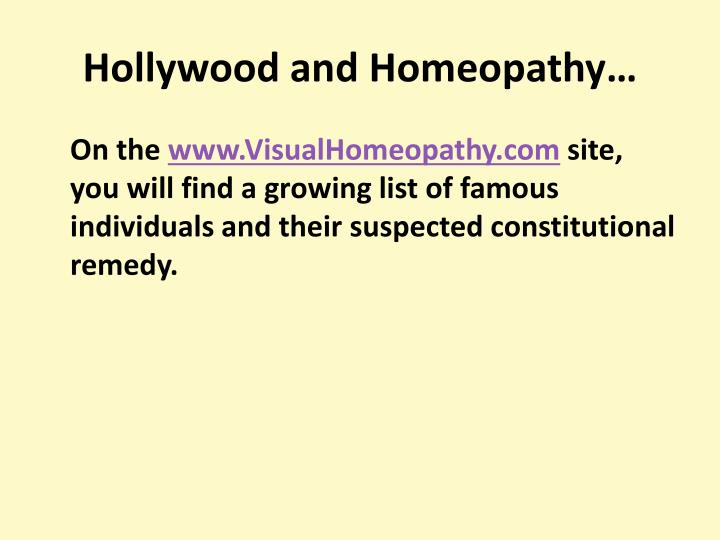 Hollywood and Homeopathy…