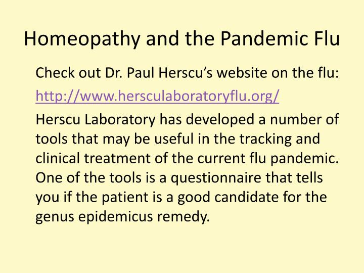Homeopathy and the Pandemic Flu