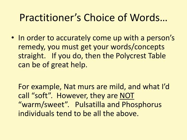 Practitioner's Choice of Words…
