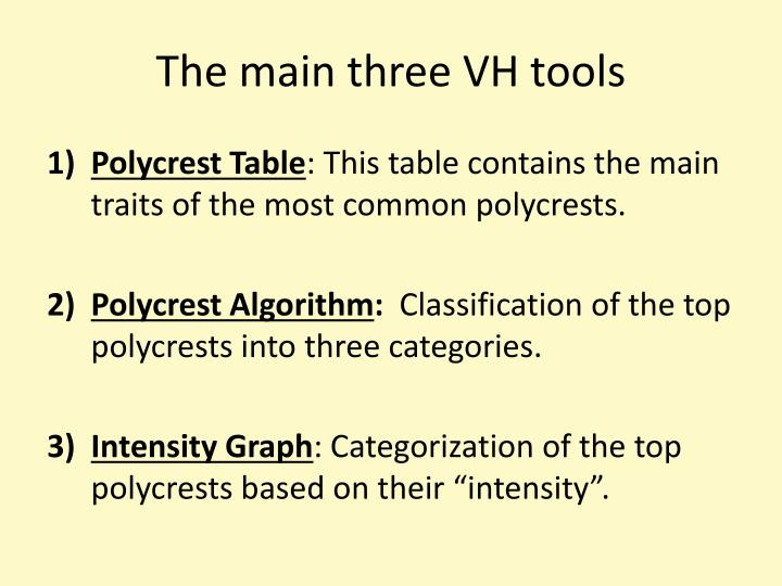 The main three VH tools