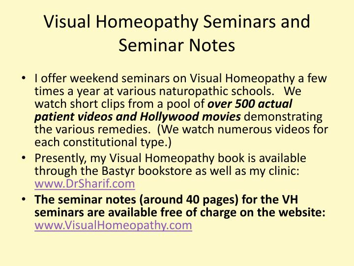 Visual Homeopathy Seminars and Seminar Notes