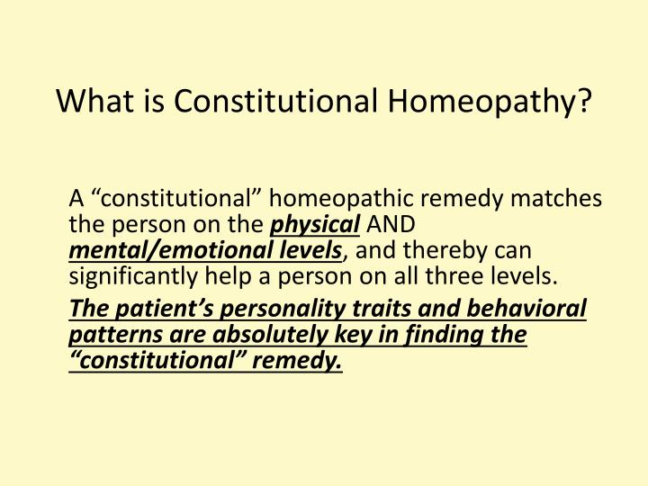 What is Constitutional Homeopathy?