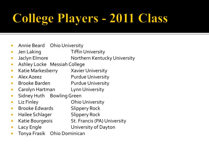 College Players - 2011 Class