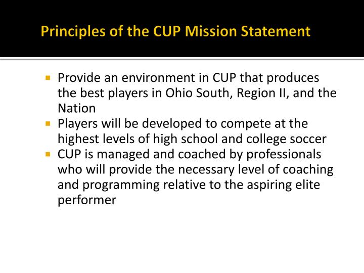 Principles of the CUP Mission Statement