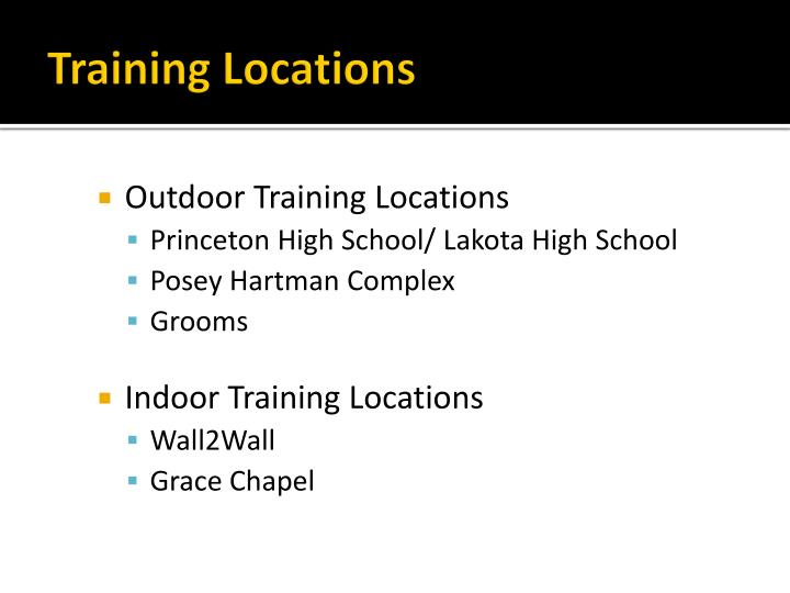 Training Locations