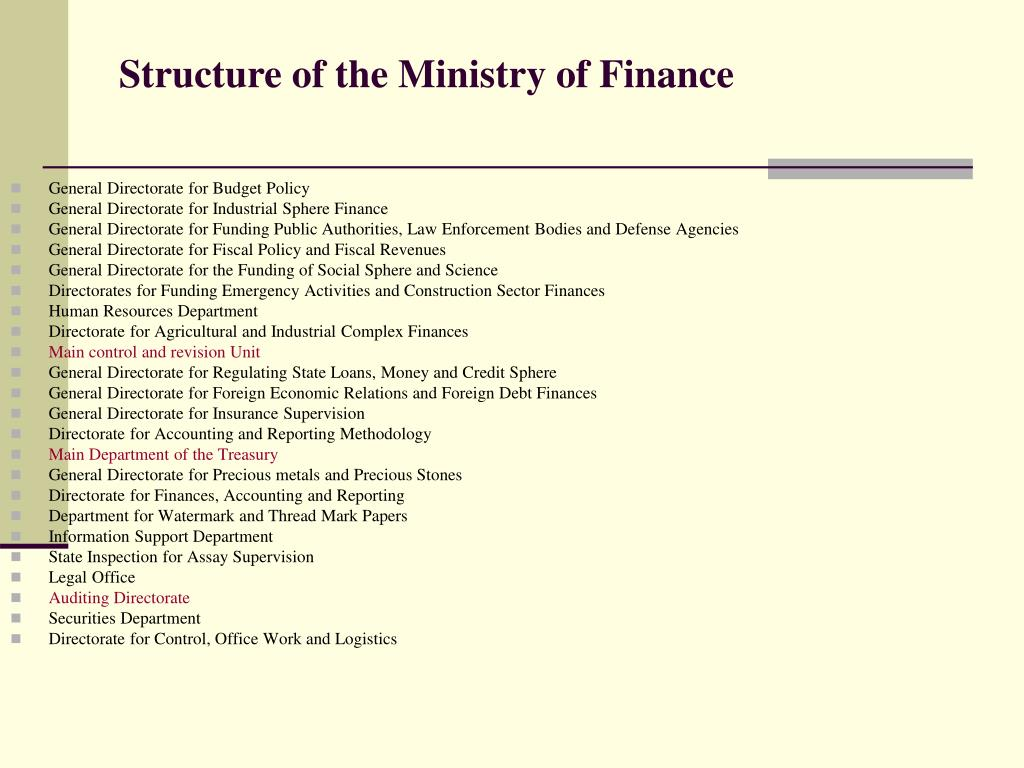 Structure of the Ministry of Finance