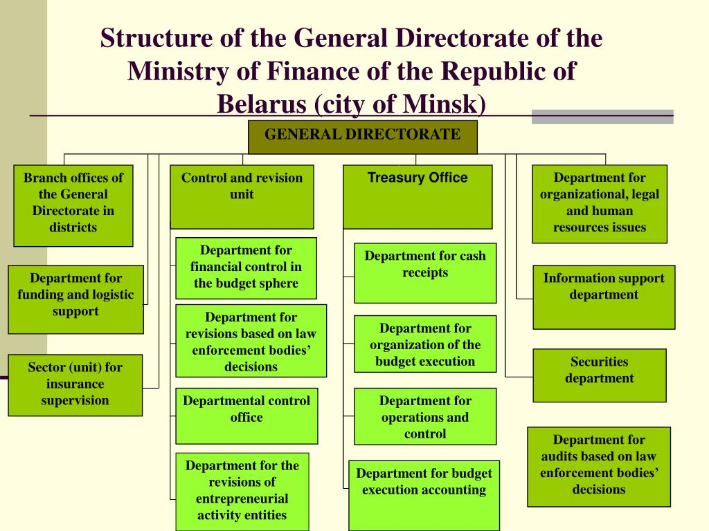 Structure of the General Directorate of the Ministry of Finance of the Republic of Belarus (city of Minsk)