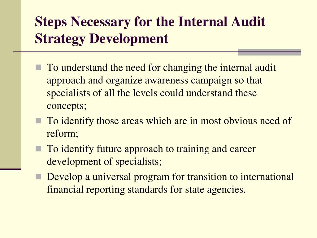 Steps Necessary for the Internal Audit Strategy Development