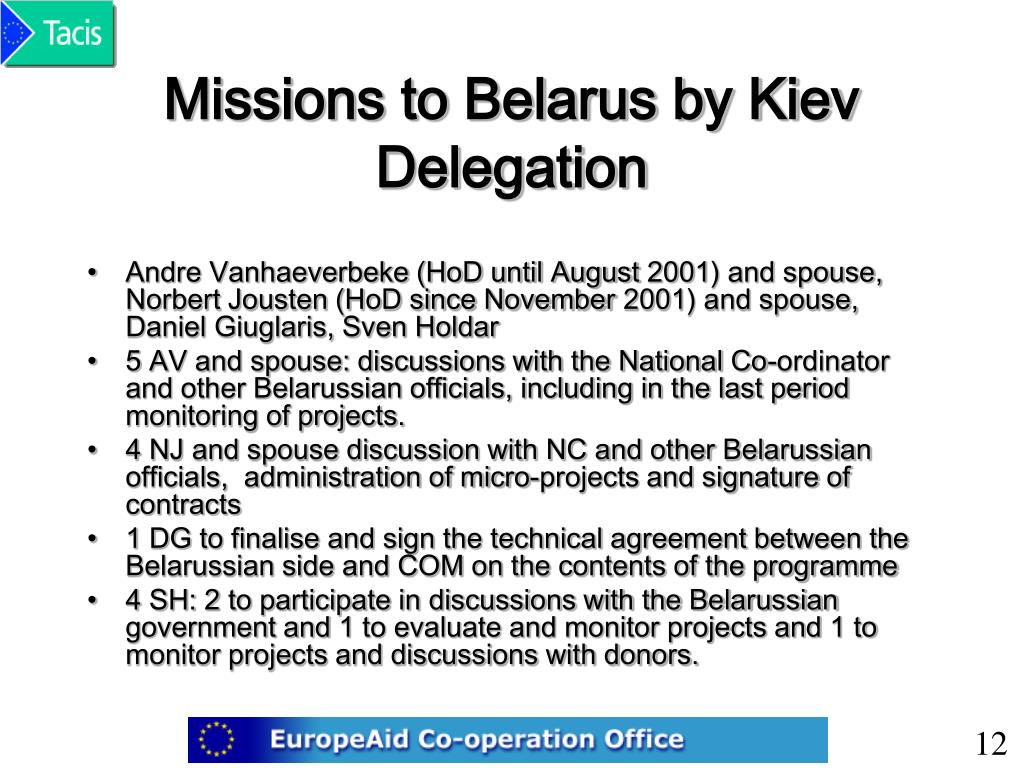 Missions to Belarus by Kiev Delegation