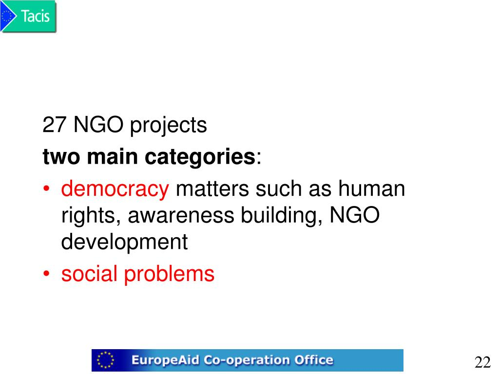 27 NGO projects