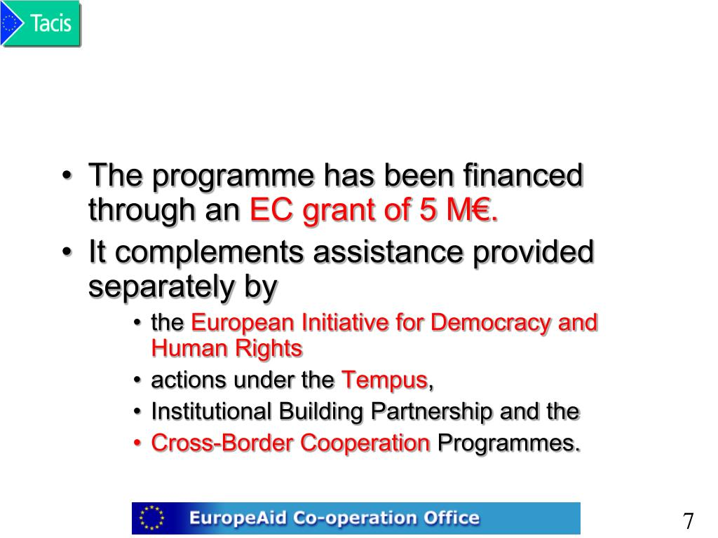 The programme has been financed through an