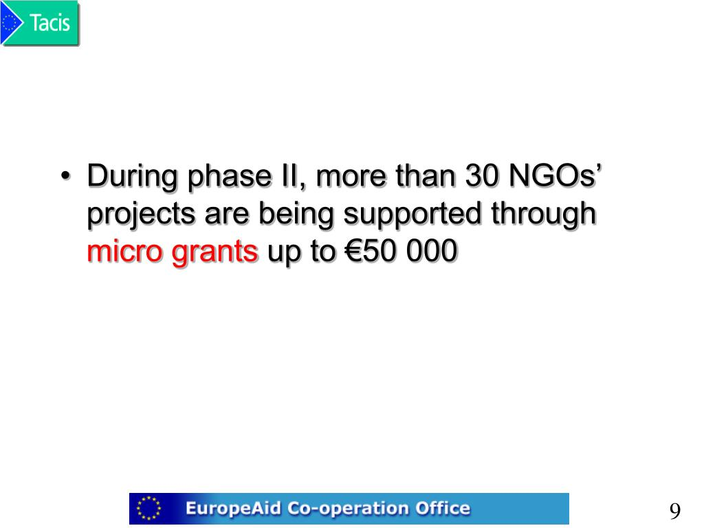 During phase II, more than 30 NGOs' projects are being supported through