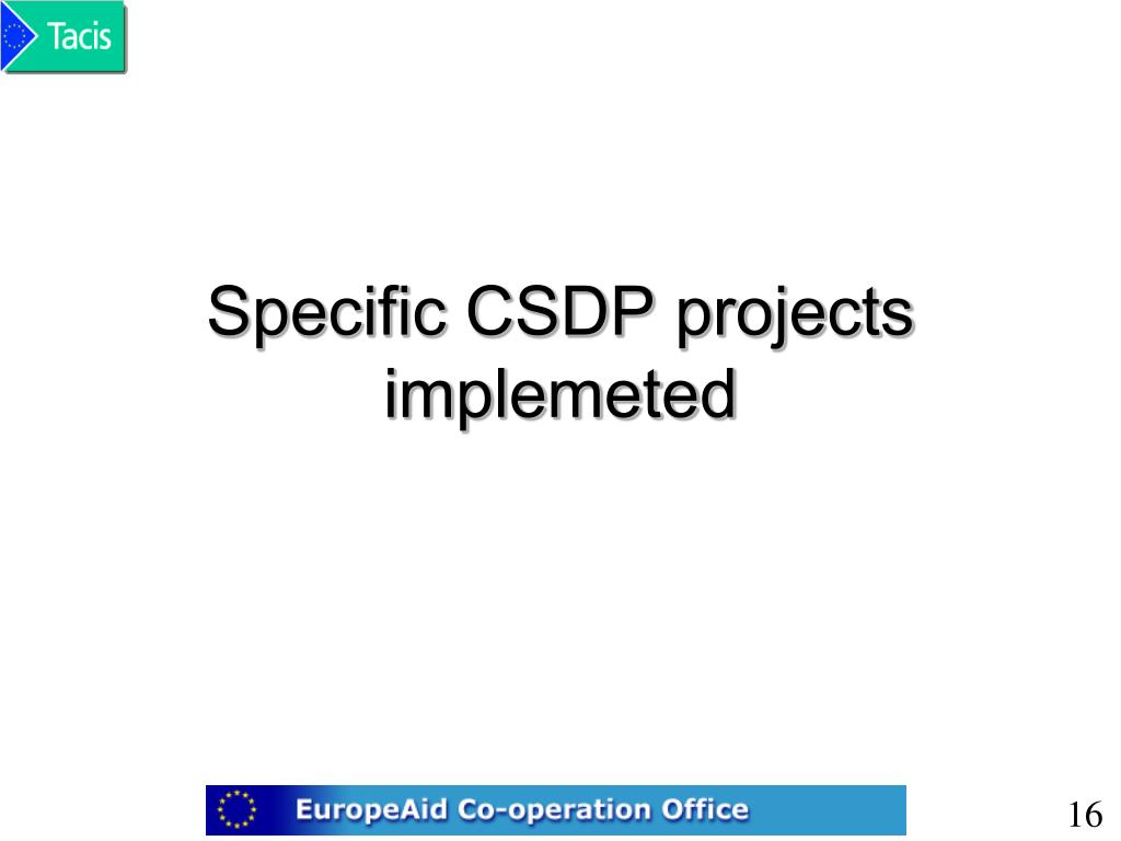 Specific CSDP projects implemeted