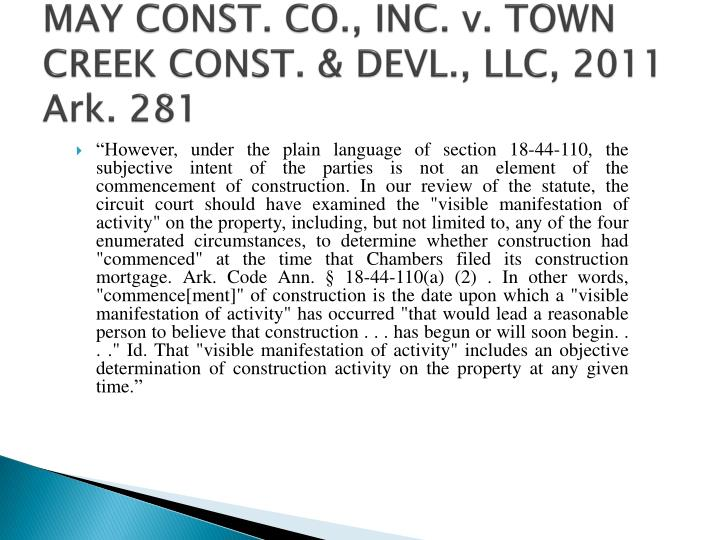 MAY CONST. CO., INC. v. TOWN CREEK CONST. &