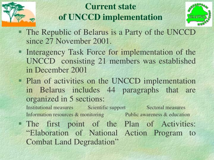 Current state of unccd implementation