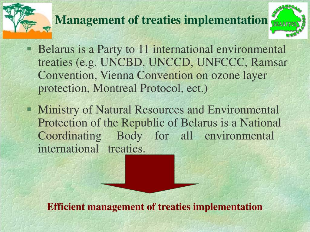 Efficient management of treaties implementation