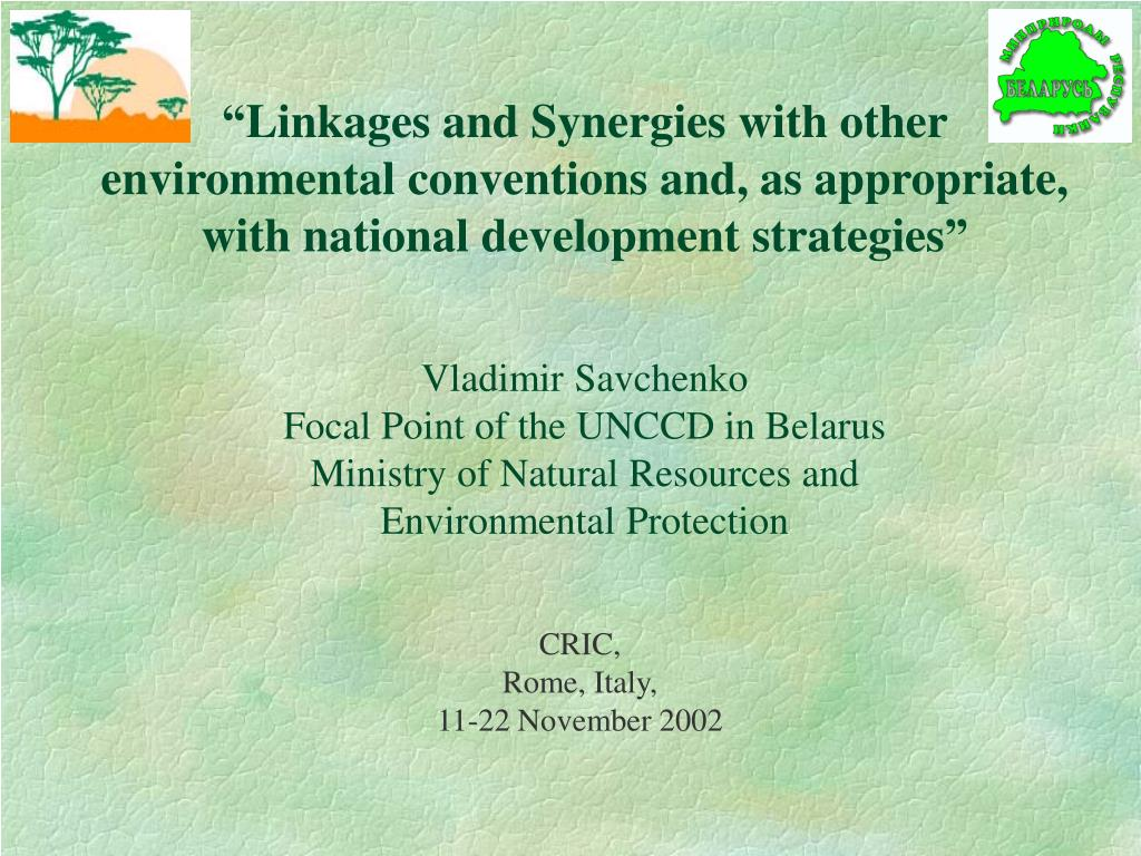 """""""Linkages and Synergies with other environmental conventions and, as appropriate, with national development strategies"""""""