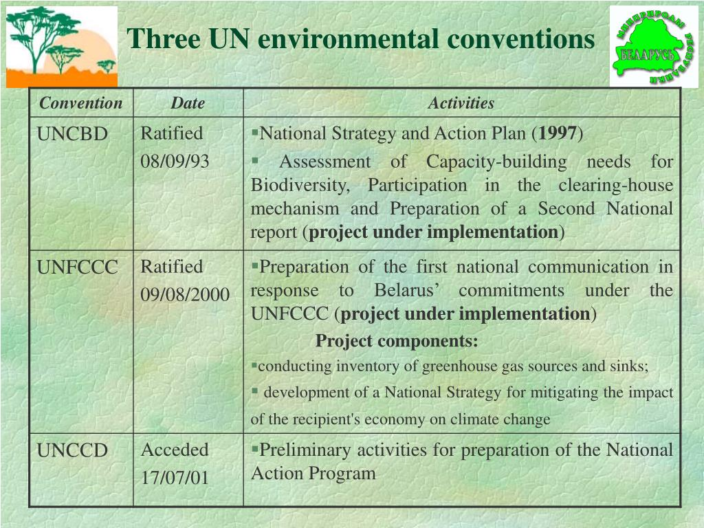 Three UN environmental conventions
