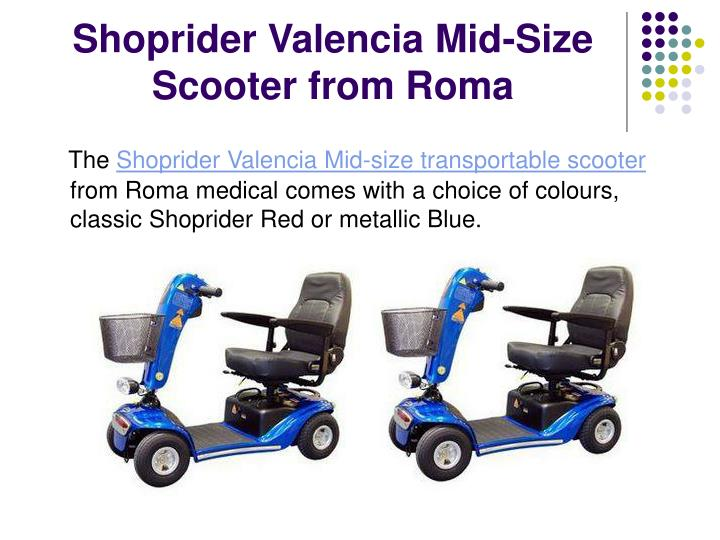 Shoprider valencia mid size scooter from roma