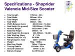 specifications shoprider valencia mid size scooter