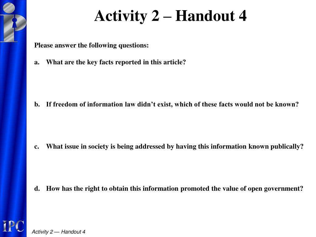 Activity 2 – Handout 4