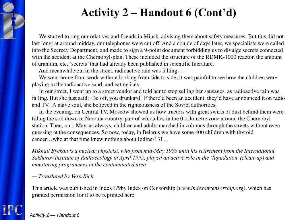 Activity 2 – Handout 6 (Cont'd)