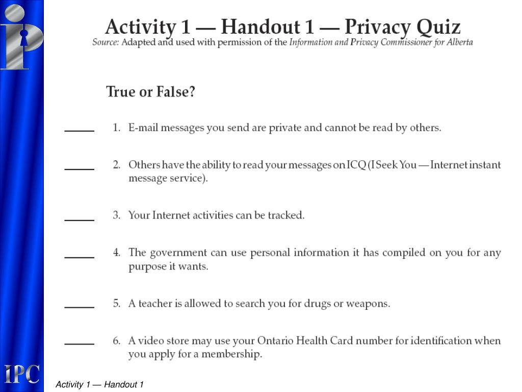 Activity 1 — Handout 1