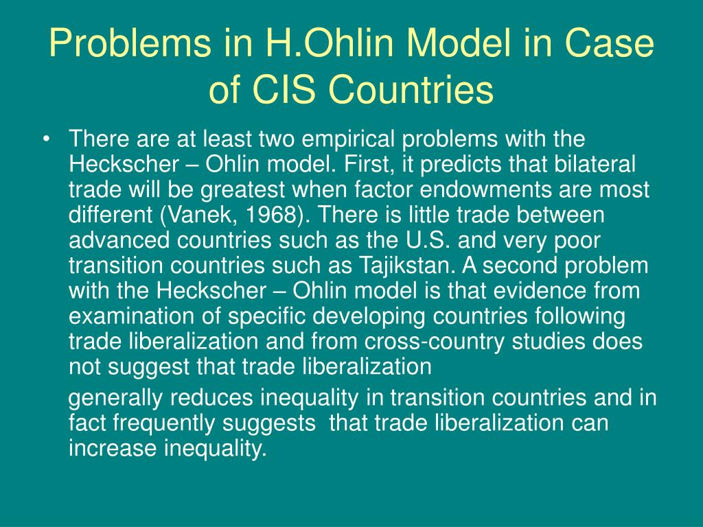 Problems in H.Ohlin Model in Case of CIS Countries