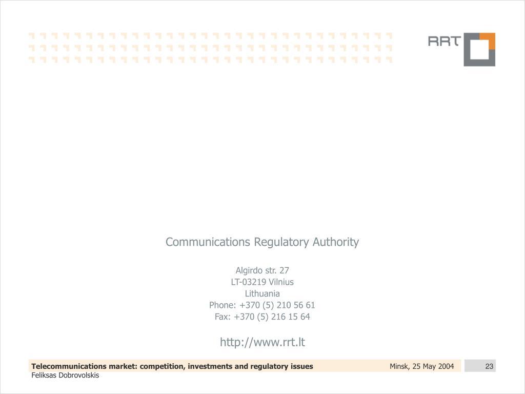 Communications Regulatory Authority