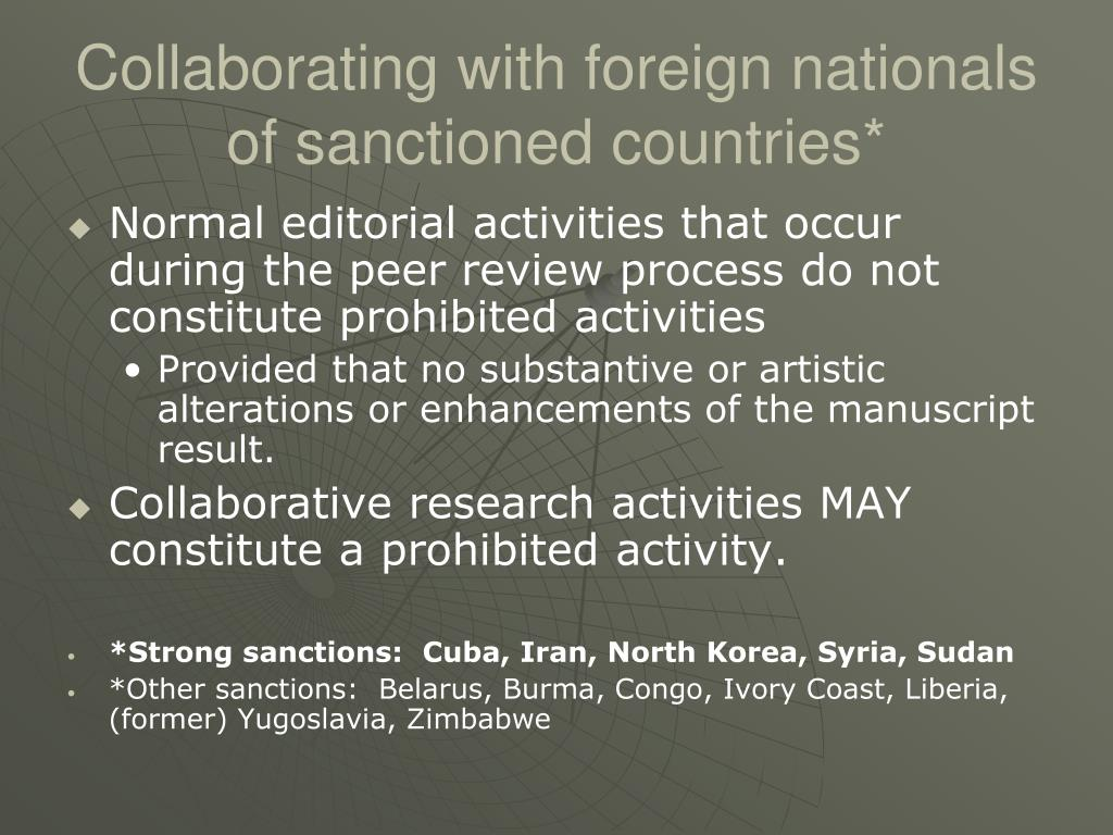 Collaborating with foreign nationals of sanctioned countries*