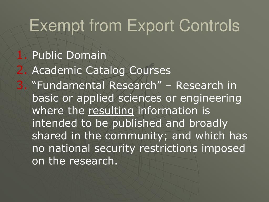Exempt from Export Controls