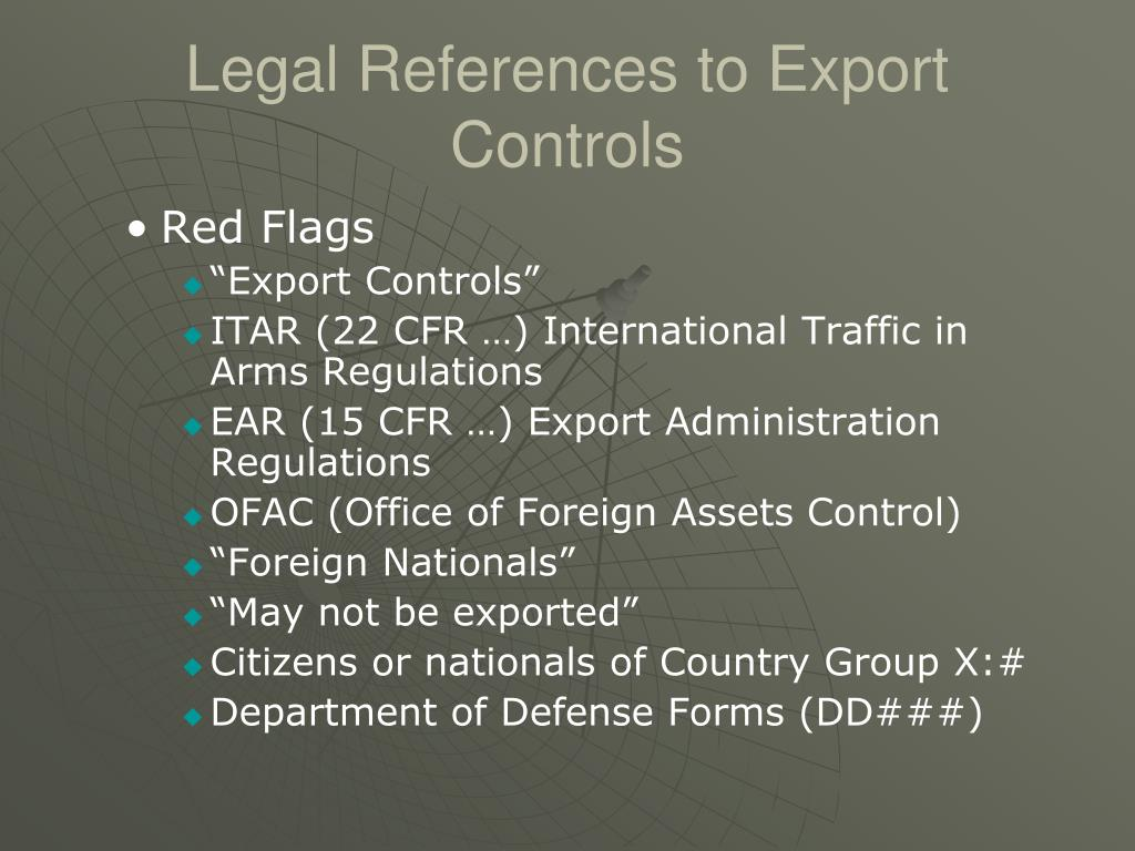 Legal References to Export Controls