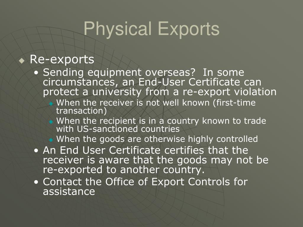 Physical Exports