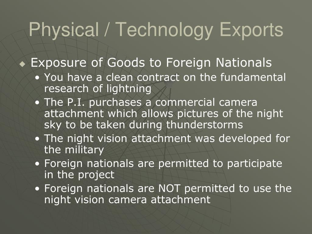 Physical / Technology Exports