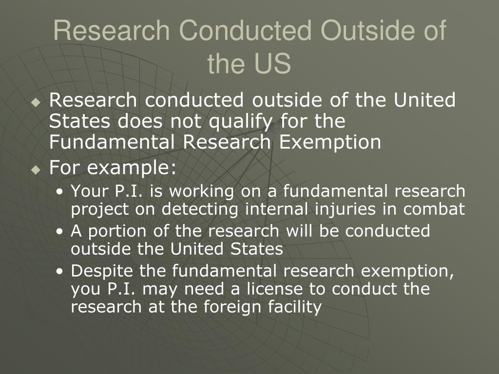 Research Conducted Outside of the US