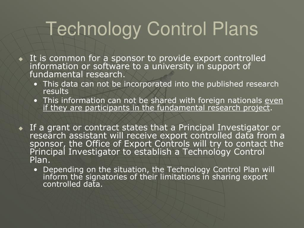 Technology Control Plans