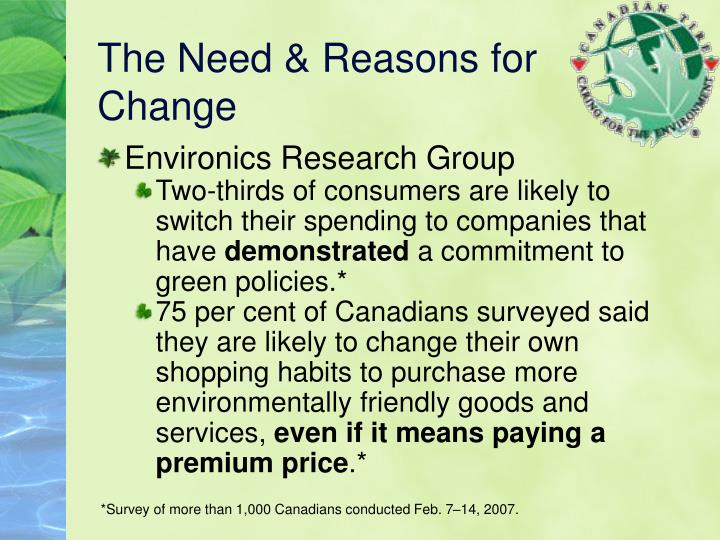 The Need & Reasons for Change