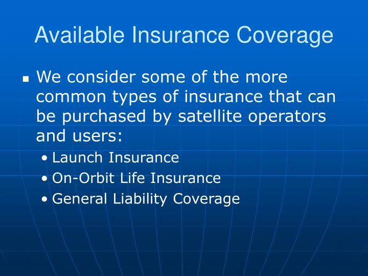Available Insurance Coverage