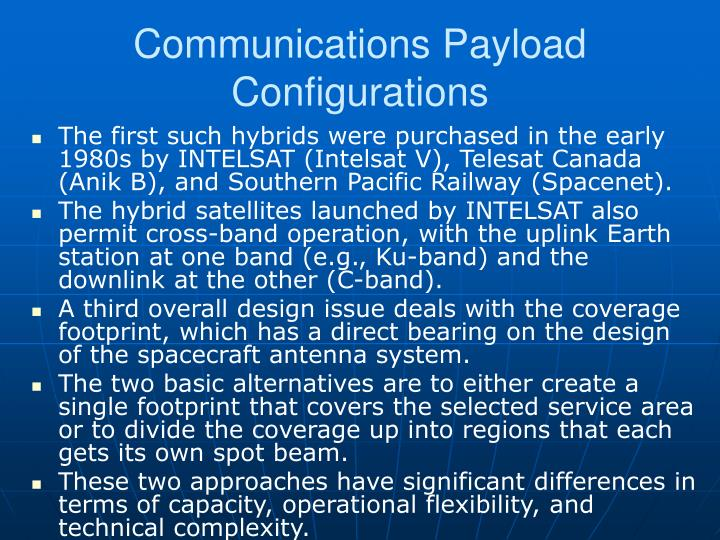 Communications Payload Configurations