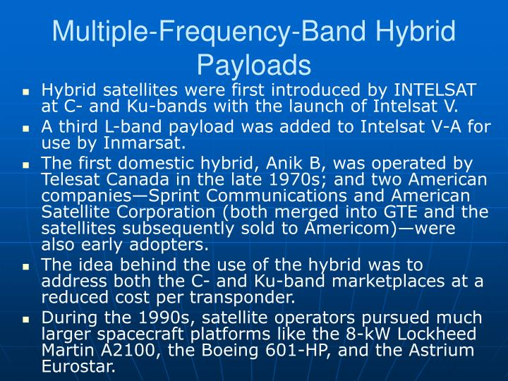 Multiple-Frequency-Band Hybrid Payloads