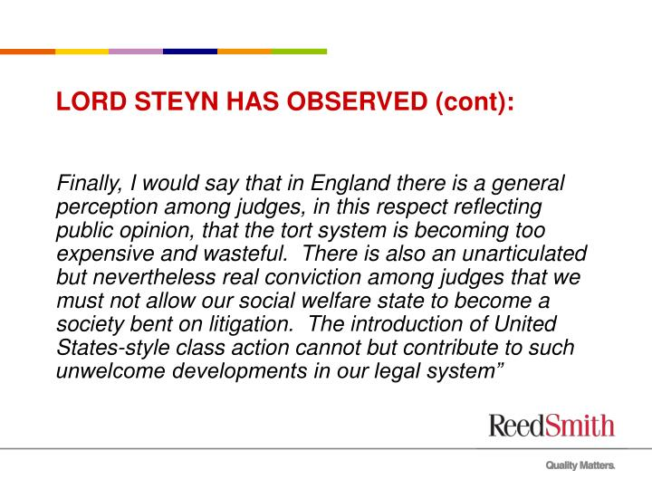 Lord steyn has observed cont