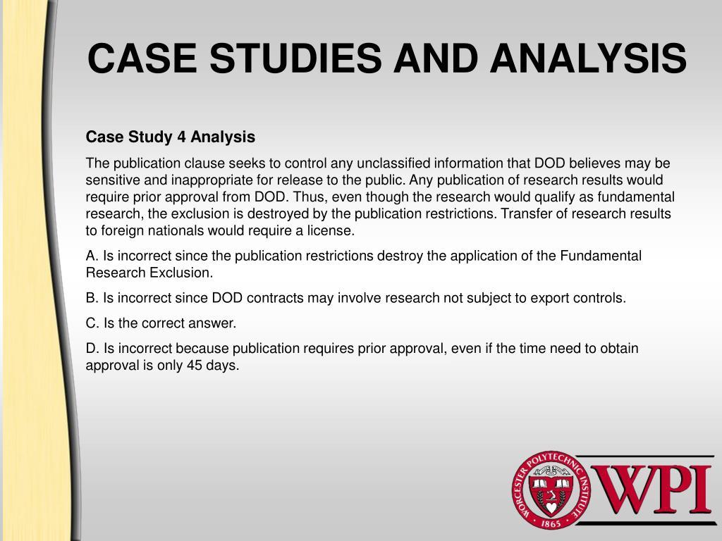 CASE STUDIES AND ANALYSIS