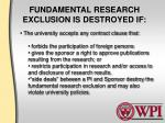 fundamental research exclusion is destroyed if