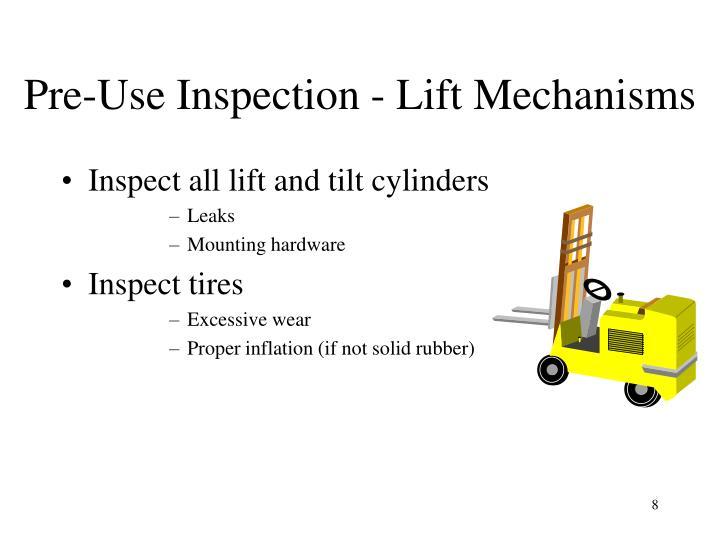 Pre-Use Inspection - Lift Mechanisms