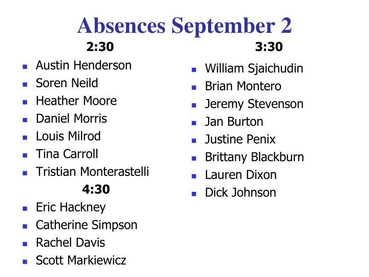 Absences September 2