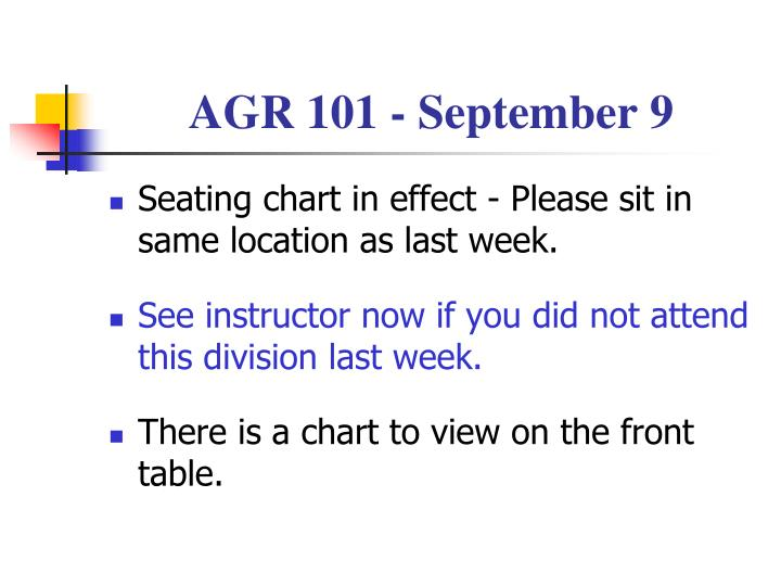 AGR 101 - September 9