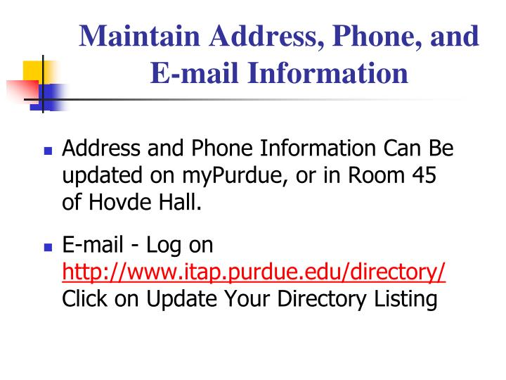 Maintain Address, Phone, and E-mail Information