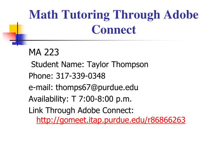 Math Tutoring Through Adobe Connect