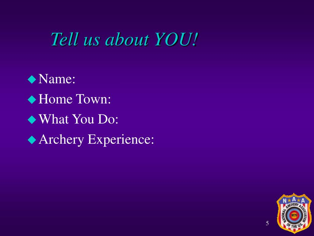 Tell us about YOU!